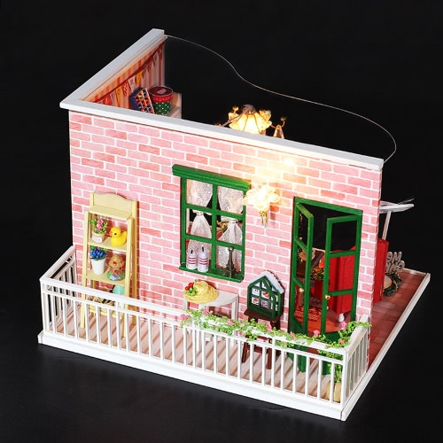DIY House Miniature Kit Dollhouse Creative Room with Furniture LED Dustproof Cover for Christmas Romantic Kids GiftToys &amp; Hobbies<br>DIY House Miniature Kit Dollhouse Creative Room with Furniture LED Dustproof Cover for Christmas Romantic Kids Gift<br>