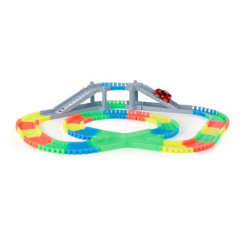 YA ZHI QI 868-163 166PCS Twister Tracks Flexible Assembly Neon Glow in the Dark with Bridge Crossroad Track Race Car for KidsToys &amp; Hobbies<br>YA ZHI QI 868-163 166PCS Twister Tracks Flexible Assembly Neon Glow in the Dark with Bridge Crossroad Track Race Car for Kids<br>