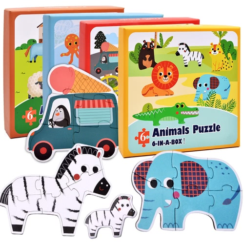 4Pcs Paper Jigsaw Puzzle Set Forest/Farm/Marine Animals/Transportation Tool Paper 6-In-A-Box Puzzle Games Educational ToyToys &amp; Hobbies<br>4Pcs Paper Jigsaw Puzzle Set Forest/Farm/Marine Animals/Transportation Tool Paper 6-In-A-Box Puzzle Games Educational Toy<br>