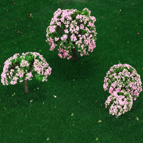 4 Pieces Plastic Model Trees Train Layout Garden Scenery White and Pink Flower Trees Diorama Miniature PinkToys &amp; Hobbies<br>4 Pieces Plastic Model Trees Train Layout Garden Scenery White and Pink Flower Trees Diorama Miniature Pink<br>