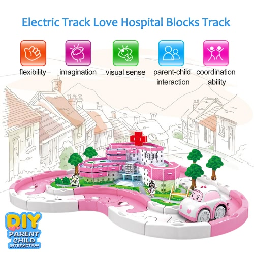 Electric Rail Car Racing Car Puzzle Electric Track Love Hospital Blocks Track Battery Powered DIY Toy Set for KidsToys &amp; Hobbies<br>Electric Rail Car Racing Car Puzzle Electric Track Love Hospital Blocks Track Battery Powered DIY Toy Set for Kids<br>