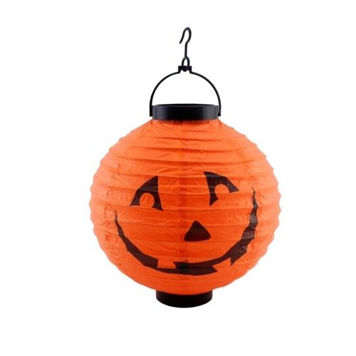Lanterna de papel de Halloween com luz LED para decorações de casa de férias