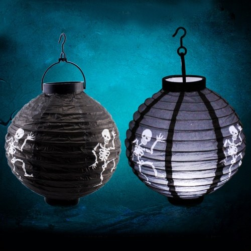 Halloween Paper Lantern with LED Light for Holiday House Decorations