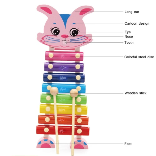 Rabbit Hand Knocks Xylophone Hand Knocks Jean Musical Instrument Toys Music Ability Training Wooden Percussion InstrumentsToys &amp; Hobbies<br>Rabbit Hand Knocks Xylophone Hand Knocks Jean Musical Instrument Toys Music Ability Training Wooden Percussion Instruments<br>
