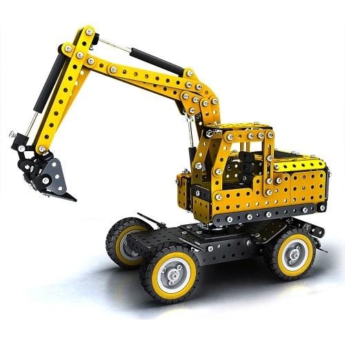 502Pcs掘削機のインテリジェントな建設セットの3Dステンレス鋼モデルキットDIYギフトモデル建物の教育おもちゃ