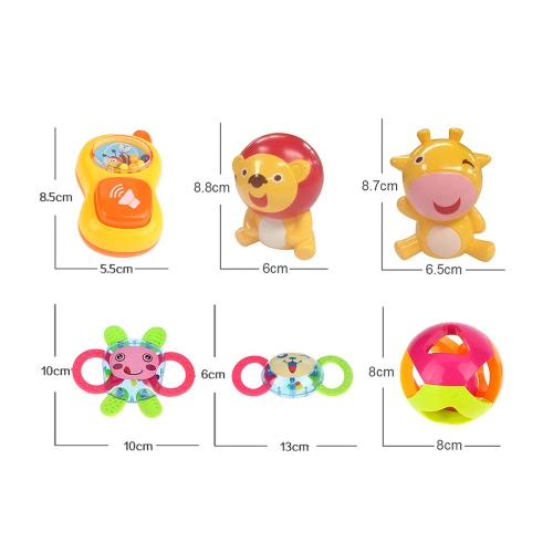 6 Pieces Fun Colorful Toy Play Set Baby Rattle and Teether Infant Teething Toys with Small Baby BottleToys &amp; Hobbies<br>6 Pieces Fun Colorful Toy Play Set Baby Rattle and Teether Infant Teething Toys with Small Baby Bottle<br>