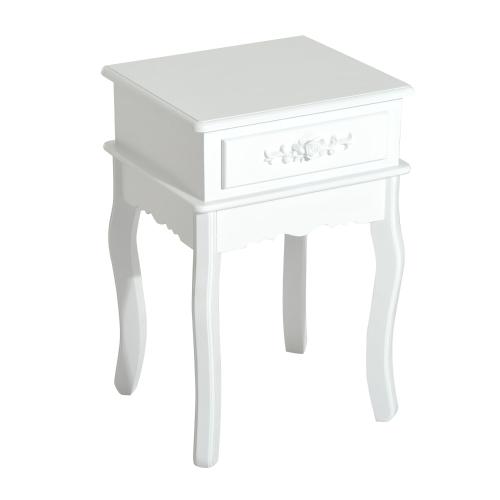 """Mesa de extremidade de madeira de 24 """"com gaveta de armazenamento - branca"""