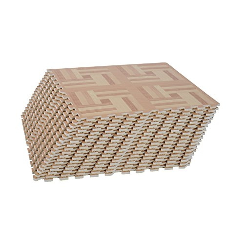 18 Tile Paralelepípedos Puzzle Foam Floor Tile Mats - Light Wood Geometric