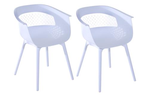 "30 ""Eames Style Mid-Century Modern Molded Plastic Armchair Set of 2 - Branco"