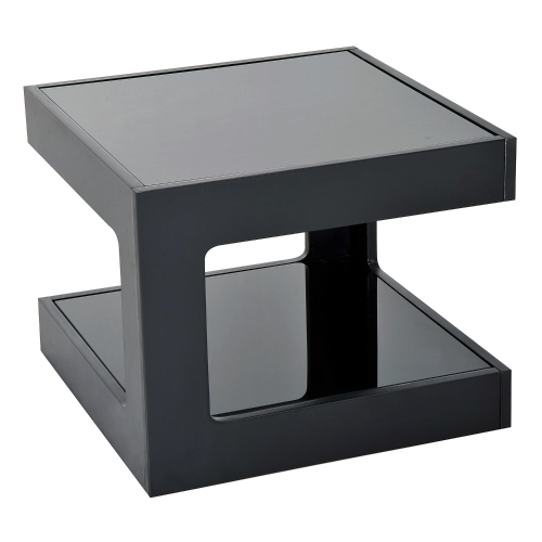 Modern Glass Top Cube End Accent Table - BlackHome &amp; Garden<br>Modern Glass Top Cube End Accent Table - Black<br>