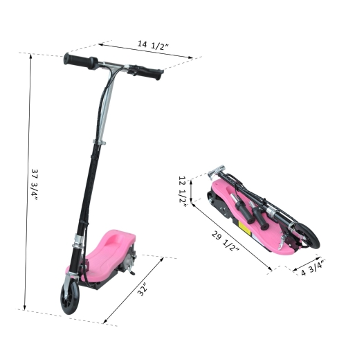 24V Kids Ride-on Electric Scooter Folding Bicycle Motorized 120W-PinkSports &amp; Outdoor<br>24V Kids Ride-on Electric Scooter Folding Bicycle Motorized 120W-Pink<br>
