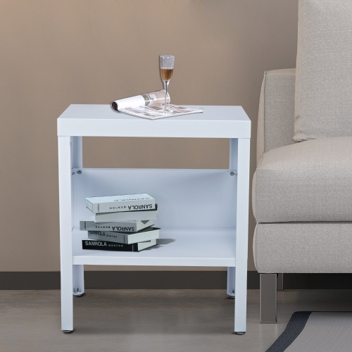 Mid Century Modern Industrial Metal Nightstand / End Table (White)Home &amp; Garden<br>Mid Century Modern Industrial Metal Nightstand / End Table (White)<br>