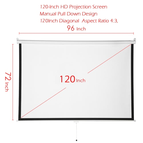 120-Inch HD Projection Screen Manual Pull Down 120Inch Diagonal Aspect Ratio 4:3 Projection ScreenVideo &amp; Audio<br>120-Inch HD Projection Screen Manual Pull Down 120Inch Diagonal Aspect Ratio 4:3 Projection Screen<br>