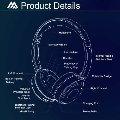 Original MARROW 303B Wireless Bluetooth Stereo Headset Bluetooth 4.0 HIFI Bass Sound Effect Hands-free Headphone Black with Mic foVideo &amp; Audio<br>Original MARROW 303B Wireless Bluetooth Stereo Headset Bluetooth 4.0 HIFI Bass Sound Effect Hands-free Headphone Black with Mic fo<br>
