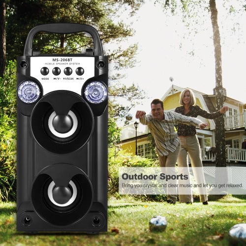 Bluetooth Outdoor Speaker Wireless Dual 5W Speakers USB FM Radio AUX-IN TF Card Music Playing LED Light for iOS / Android Smart PhVideo &amp; Audio<br>Bluetooth Outdoor Speaker Wireless Dual 5W Speakers USB FM Radio AUX-IN TF Card Music Playing LED Light for iOS / Android Smart Ph<br>