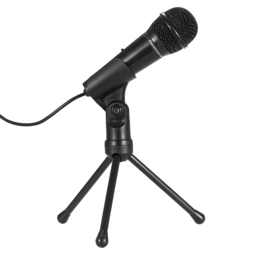 SF-910 Professional 3.5mm Condenser Microphone  Sound Studio Podcast w/ Stand For Skype Desktop PC Notebook (Black)