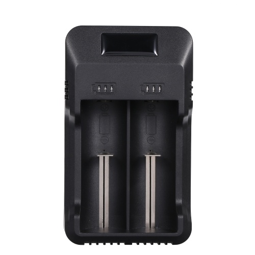 Universal 2 Slots Smart Battery Charger with LED Indicator Light Rechargeable Lithium Battery Charger for 3.7V/3.8V Lithium-ion Batteries(26650/18650/18500/18350/14500) & Ni-mh/Ni-cd Batteries(AAA AA A)