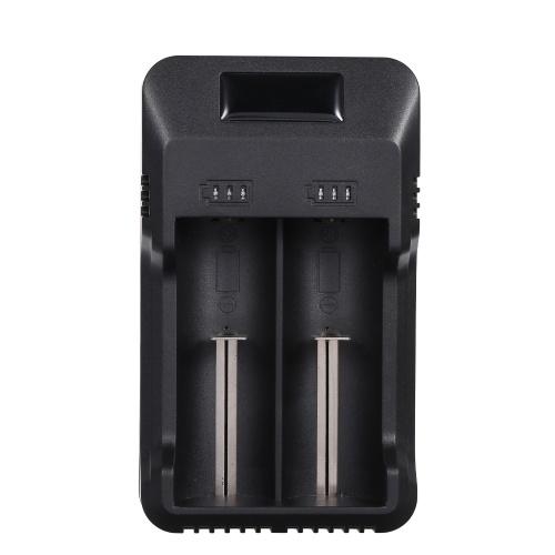 Chargeur de batterie intelligent universel à 2 fentes avec voyant LED Chargeur de batterie rechargeable au lithium pour batteries au lithium-ion de 3.7V / 3.8V (26650/18650/18500/18350/14500) et batteries Ni-mh / Ni-cd (AAA AA A)