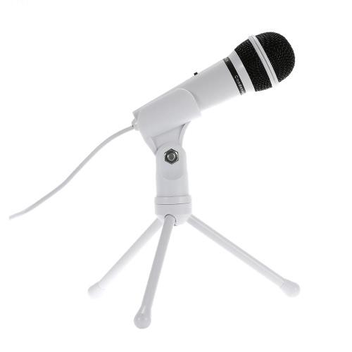 SF-910 профессиональных 3,5 мм конденсаторный микрофон звук Podcast Студия ж / стенд для Skype, настольных ПК ноутбука (белый)