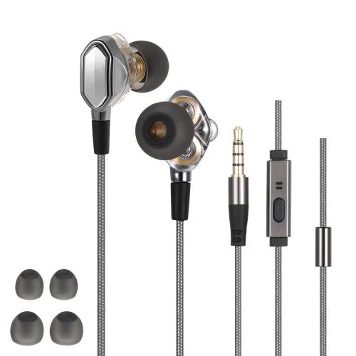 3,5 mm Hi-fi Casque intra-auriculaires double Dynamic Design Driver Casques d'écoute de contrôle en ligne pour iPhone Samsung LG Smart Téléphonie Informatique