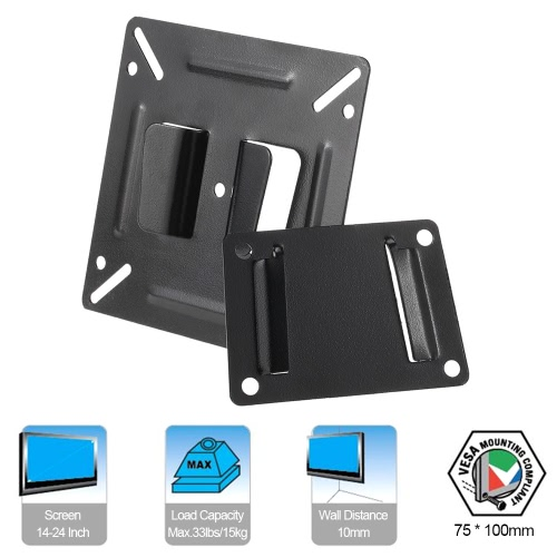 C2 TV Wall Mount Bracket for Most 14-24 Inch LED LCD Plasma Flat Screen Monitor Max.33lbs/15kg Load Capacity Fixed Mount BlackVideo &amp; Audio<br>C2 TV Wall Mount Bracket for Most 14-24 Inch LED LCD Plasma Flat Screen Monitor Max.33lbs/15kg Load Capacity Fixed Mount Black<br>