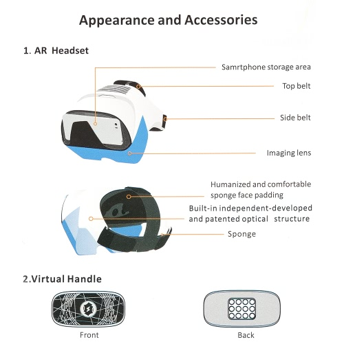 AR Headset Box Glasses 3D Holographic Hologram Display Holographic Projector for Smart Phones with 4.2-5.7in Virtual HandleVideo &amp; Audio<br>AR Headset Box Glasses 3D Holographic Hologram Display Holographic Projector for Smart Phones with 4.2-5.7in Virtual Handle<br>