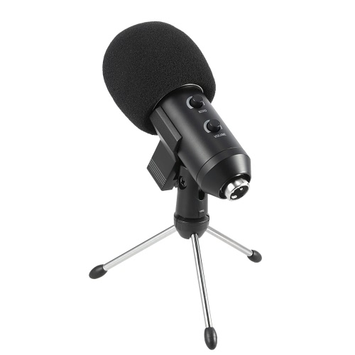 Professional Condenser Microphone Studio Sound Recording Broadcasting with Reverberation Echo Function with Anti-wind Sponge Cover Clip Stand