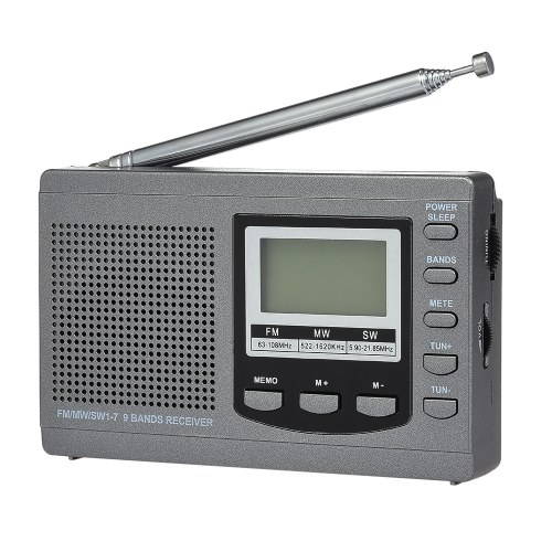 Radio FM / AM / SW Receptor de radio estéreo digital multibanda Pantalla de tiempo de salida de auricular Reloj despertador Antena giratoria externa