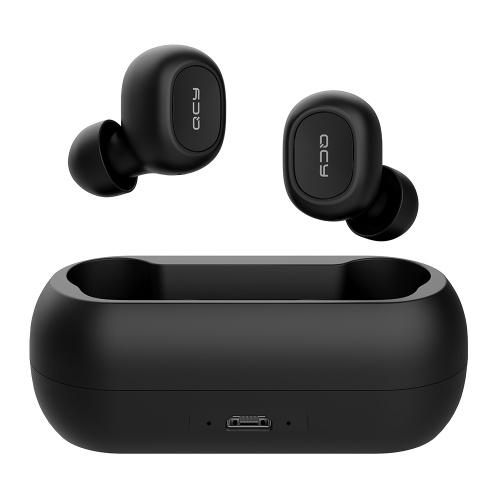 QCY T1C Auriculares Bluetooth 5.0 TWS Auriculares inalámbricos con doble micrófono Estéreo en la oreja Auriculares Gemelos Auriculares deportivos Caja de carga