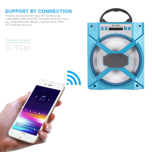 MS-155BT Portable Wireless BT Speaker Multimedia Mobile Loudspeaker FM Radio with AUX/USB/TF for Smartphones Tablets and other BT-Video &amp; Audio<br>MS-155BT Portable Wireless BT Speaker Multimedia Mobile Loudspeaker FM Radio with AUX/USB/TF for Smartphones Tablets and other BT-<br>