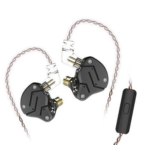 KZ ZSN 3,5 mm com fio no ouvido de metal fone de ouvido de alta fidelidade com microfone