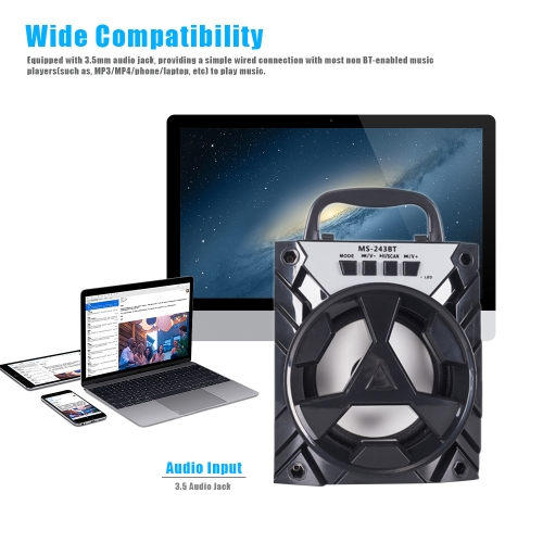 MS-243BT Wireless BT Speaker Portable Multimedia Mobile Loudspeaker USB &amp; 3.5mm Audio Music Play with TF Card Slot FM Radio for SmVideo &amp; Audio<br>MS-243BT Wireless BT Speaker Portable Multimedia Mobile Loudspeaker USB &amp; 3.5mm Audio Music Play with TF Card Slot FM Radio for Sm<br>