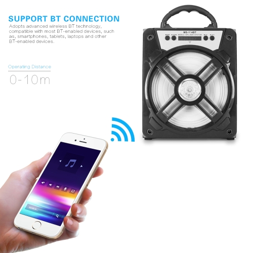 MS-154BT Portable Wireless BT Speaker Multimedia Music Sound Box FM Radio with LDE Display AUX USB Port TF Card Slot for SmartphonVideo &amp; Audio<br>MS-154BT Portable Wireless BT Speaker Multimedia Music Sound Box FM Radio with LDE Display AUX USB Port TF Card Slot for Smartphon<br>