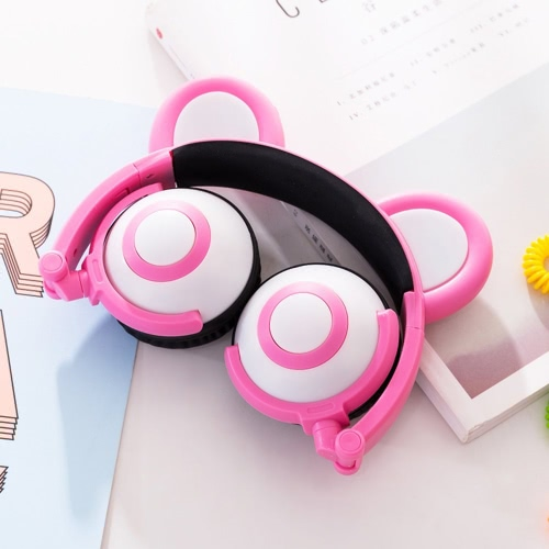 Headphone Cute Folded Bear Ears Earlaps With LED Light Button Battery Soft Band HeadsetVideo &amp; Audio<br>Headphone Cute Folded Bear Ears Earlaps With LED Light Button Battery Soft Band Headset<br>