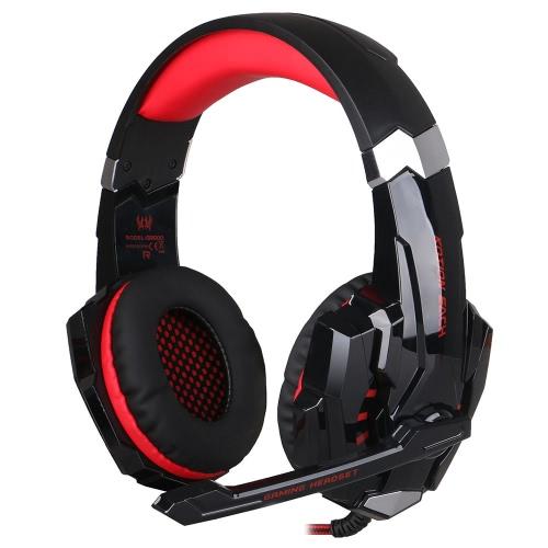 KOTION chaque G9000 3,5 mm jeu jeu bruit annulation Ecouteur avec micro LED lumière noir-rouge pour les téléphones mobiles de PS4 portable Tablet