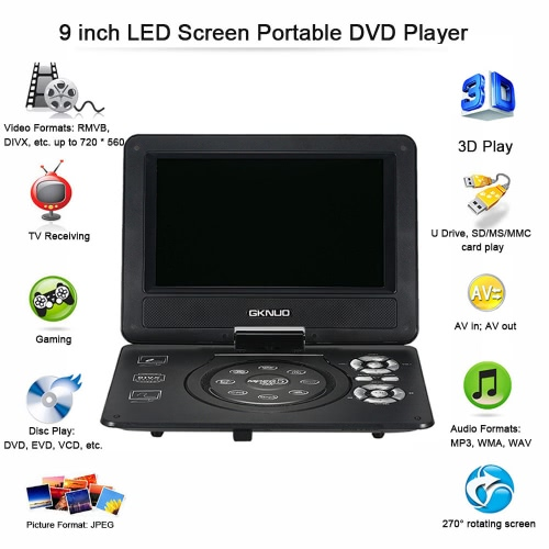 GKNUO ADW930 9 Inch DVD Player Digital Multimedia Player Support U Drive Play &amp; Card Reader FM / TV / Game Function Black EU PlugVideo &amp; Audio<br>GKNUO ADW930 9 Inch DVD Player Digital Multimedia Player Support U Drive Play &amp; Card Reader FM / TV / Game Function Black EU Plug<br>