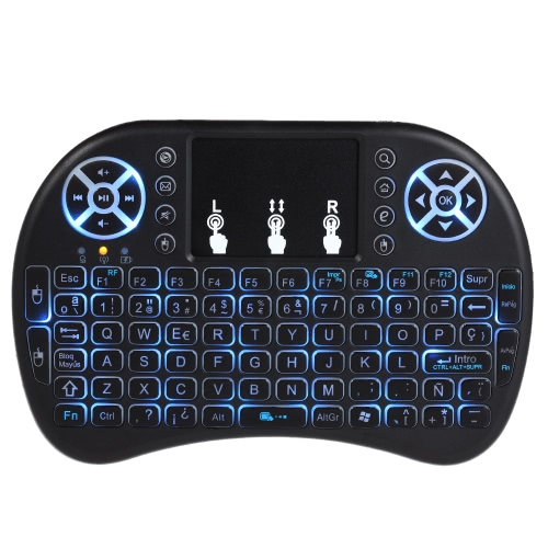 English Version Backlit 2.4GHz Wireless Keyboard Air Mouse Touchpad Handheld Remote Control Backlight WhiteVideo &amp; Audio<br>English Version Backlit 2.4GHz Wireless Keyboard Air Mouse Touchpad Handheld Remote Control Backlight White<br>