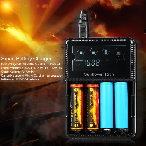 Sunflower RiCH XXC-S4 4 Slot Smart Battery Charger Digital LCD Display for Rechargeable AA AAA Ni-MH Ni-Cd Li-ion LiFePO4 26650 18Video &amp; Audio<br>Sunflower RiCH XXC-S4 4 Slot Smart Battery Charger Digital LCD Display for Rechargeable AA AAA Ni-MH Ni-Cd Li-ion LiFePO4 26650 18<br>
