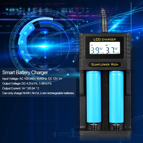 Sunflower RiCH XXC-K2 2 Slot Smart Battery Charger Digital LCD Display for Rechargeable AA AAA Ni-MH Ni-Cd Li-ion 26650 18650 1835Video &amp; Audio<br>Sunflower RiCH XXC-K2 2 Slot Smart Battery Charger Digital LCD Display for Rechargeable AA AAA Ni-MH Ni-Cd Li-ion 26650 18650 1835<br>