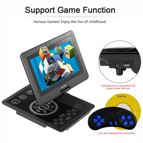 GKNUO GKN-100 10.1 Inches Portable DVD Player Touch Buttons Swivel Screen Digital Multimedia Player Support SD / U Drive / AV IN &amp;Video &amp; Audio<br>GKNUO GKN-100 10.1 Inches Portable DVD Player Touch Buttons Swivel Screen Digital Multimedia Player Support SD / U Drive / AV IN &amp;<br>