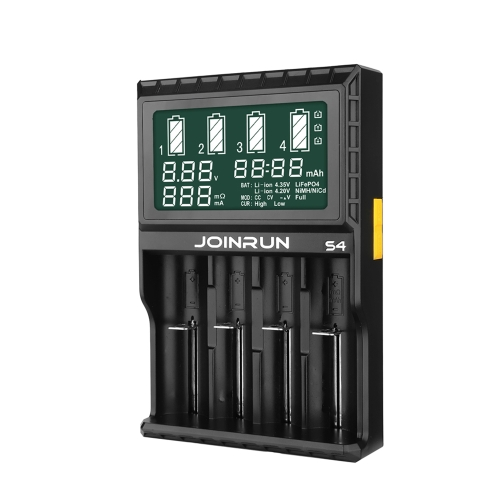 JOINRUN S4 Universal Intelligent Battery Charger 3.8 Inch LCD Display Speedy Smart Charger w/ 4 Battery Slots for Rechargeable BatVideo &amp; Audio<br>JOINRUN S4 Universal Intelligent Battery Charger 3.8 Inch LCD Display Speedy Smart Charger w/ 4 Battery Slots for Rechargeable Bat<br>