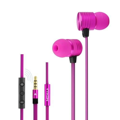 VYKON MK-2 3,5 mm In-ear écouteurs avec Microphone et 1,2 m Cable pour iPhone iPod iPad Mp3 Mp4 Rose rouge