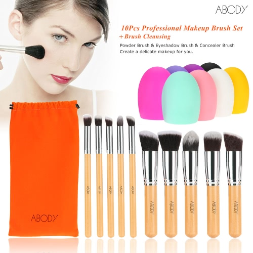 Abody 10Pcs Professional Makeup Brush Set Wooden Handle Essential Cosmetic Kit with Silica Gel Mini Cleaning Brush Tools Powder BrHealth &amp; Beauty<br>Abody 10Pcs Professional Makeup Brush Set Wooden Handle Essential Cosmetic Kit with Silica Gel Mini Cleaning Brush Tools Powder Br<br>