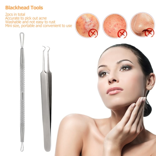 2pcs Blackhead Tool Curved Acne Clip Facial Pimple Tweezer Comedone Cleaner Stainless Steel Blemish Extractor Remover SetHealth &amp; Beauty<br>2pcs Blackhead Tool Curved Acne Clip Facial Pimple Tweezer Comedone Cleaner Stainless Steel Blemish Extractor Remover Set<br>