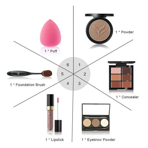 Huamianli 6Pcs Cosmetic Kit Makeup Set 3 Colors Eyebrow Powder 6 Colors Concealer Lipstick Powder Puff Foundation Brush KitHealth &amp; Beauty<br>Huamianli 6Pcs Cosmetic Kit Makeup Set 3 Colors Eyebrow Powder 6 Colors Concealer Lipstick Powder Puff Foundation Brush Kit<br>