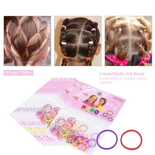 12 Bags/1200Pcs Elastic Hair Bands Rings Ropes Disposable Rubber Band Candy Color Hair Accessory Ponytail HolderHealth &amp; Beauty<br>12 Bags/1200Pcs Elastic Hair Bands Rings Ropes Disposable Rubber Band Candy Color Hair Accessory Ponytail Holder<br>