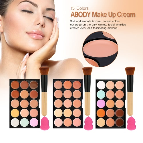 15 Colors Abody Make Up Cream #3 Facial Camouflage Concealer with Makeup Foundation Brush and Sponge Powder Puff Cosmetic Tool MinHealth &amp; Beauty<br>15 Colors Abody Make Up Cream #3 Facial Camouflage Concealer with Makeup Foundation Brush and Sponge Powder Puff Cosmetic Tool Min<br>