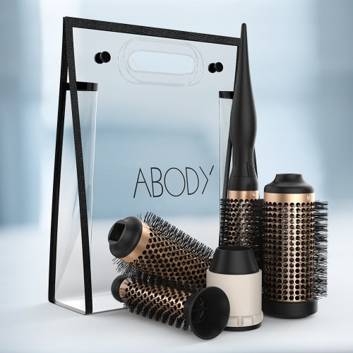 Abody Ceramic Hair Brush Set Detachable Hairbrush Aluminum Round Brush 4 Size Barrels &amp; 1 Handle Nylon Pins DIY Hairstyle ToolHealth &amp; Beauty<br>Abody Ceramic Hair Brush Set Detachable Hairbrush Aluminum Round Brush 4 Size Barrels &amp; 1 Handle Nylon Pins DIY Hairstyle Tool<br>