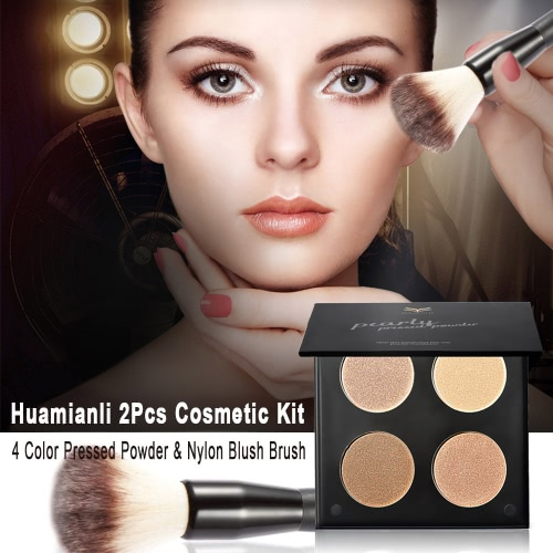 Huamianli Brand 2Pcs Cosmetic Kit 4 Colors Highlight Pressed Powder + Nylon Blush Brush Makeup Set Contour Shadow PowderHealth &amp; Beauty<br>Huamianli Brand 2Pcs Cosmetic Kit 4 Colors Highlight Pressed Powder + Nylon Blush Brush Makeup Set Contour Shadow Powder<br>