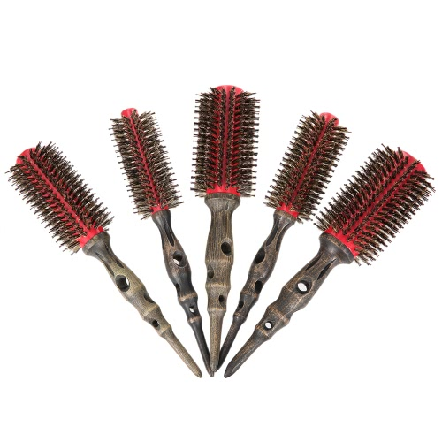 14mm Round Brush Natural Bristle Roller Comb With Non-slip Wood Handle Aluminum Round Comb for Hair StylingHealth &amp; Beauty<br>14mm Round Brush Natural Bristle Roller Comb With Non-slip Wood Handle Aluminum Round Comb for Hair Styling<br>